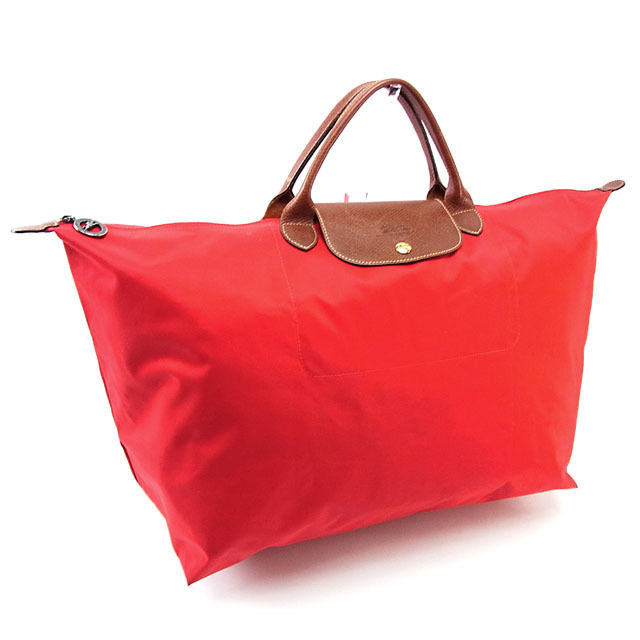 Longchamp LONGCHAMP handbag Eco bag men s possible hose red X brown X gold  nylon canvas X leather (correspondence) deep-discount popular P087 59843fcaed890