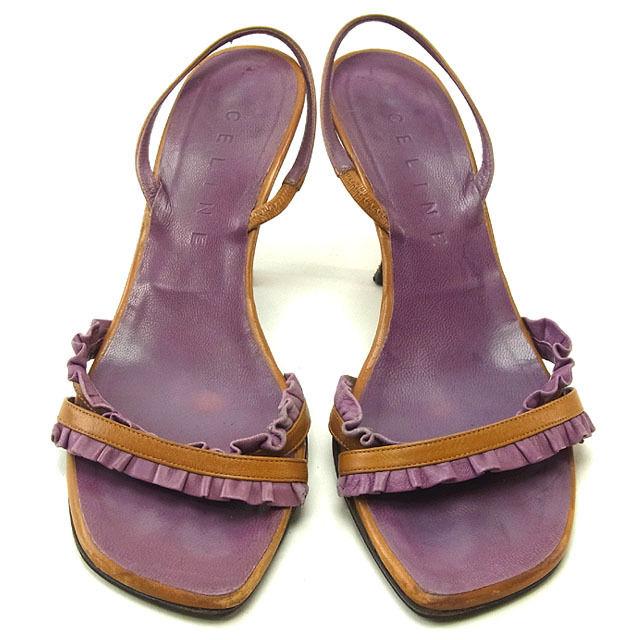 【中古】 セリーヌ CELINE サンダル ミュール シューズ 靴 レディース ♯35ハーフC スリングバック フリルバンド パープル×ライトブラウン レザー (あす楽対応)激安 P147 .