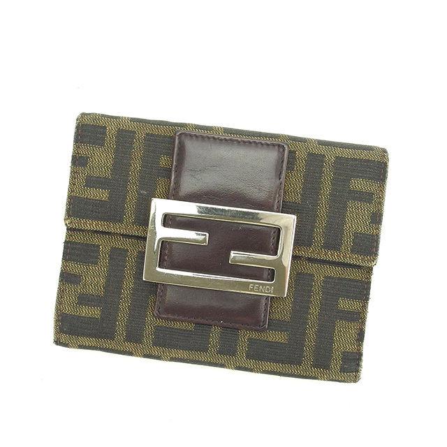 【中古】 フェンディ Fendi 三つ折り財布 財布 カーキ×ブラック×ブラウン系 ズッカ P225s