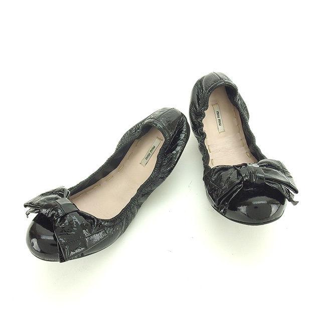 【中古】 ミュウミュウ miu miu シューズ 靴 レディース ♯34 バレエシューズ リボン ブラック エナメルレザー 人気 P226 .