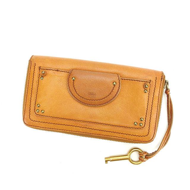 【中古】 クロエ 長財布 ラウンドファスナー Chloe キャメル×ゴールド P260s