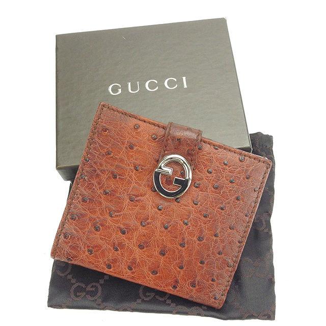 【中古】 グッチ Wホック財布 二つ折り財布 Gucci ブラウン×シルバー P281s
