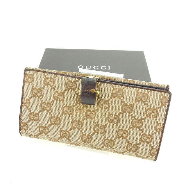 【中古】 グッチ 長財布 Wホック財布 Gucci ベージュ×ブラウン×ゴールド P298s