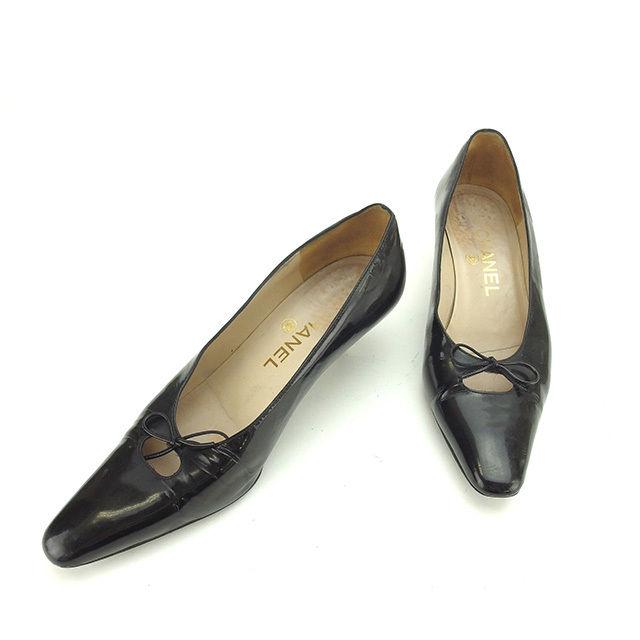 【中古】 シャネル CHANEL パンプス シューズ 靴 レディース ♯37 リボンモチーフ ブラック エナメルレザー 訳あり P302 .
