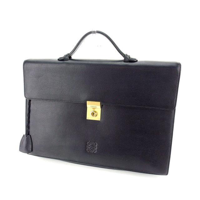【中古】 ロエベ LOEWE ビジネスバッグ ブリーフケース メンズ アナグラム ブラック×ゴールド レザー (あす楽対応)良品 P407 .
