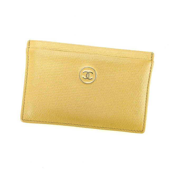 【中古】 シャネル Chanel カードケース 名刺入れ ベージュ ココマーク レディース P433s .
