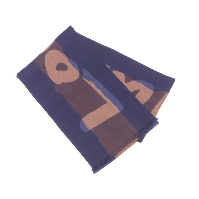 【中古】 ルイヴィトン Louis Vuitton マフラー フリンジ付き ロゴライン ネイビー×ブラウン系 ウール/93%絹/7% 人気 良品 P454