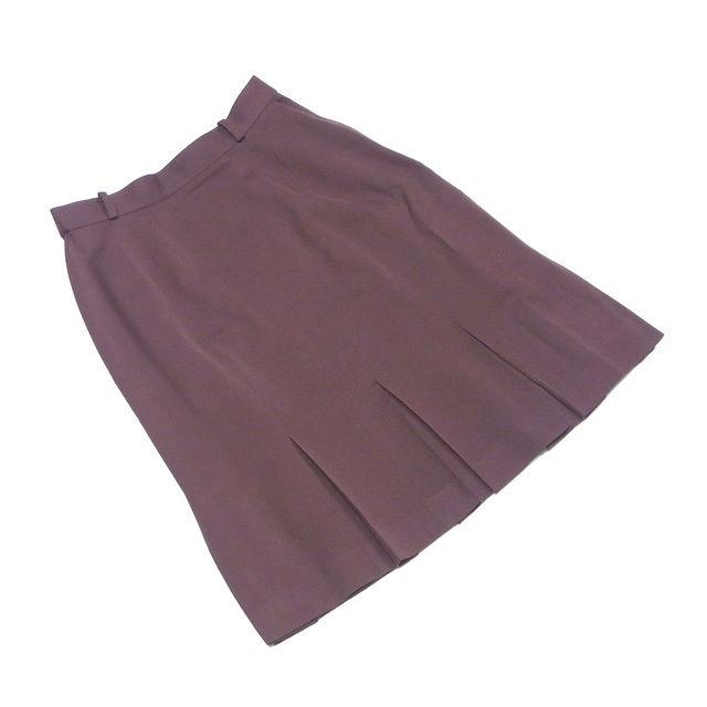 【中古】 ディオール Dior スカート フレアー レディース スポーツライン ボックスプリーツ ブラウン ウール毛100%(裏地)キュプラ100% 美品 P650 .