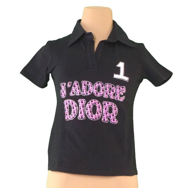 【中古】 ディオール Dior カットソー ラインストーン付き レディース スッキパー ロゴプリント ブラック×ピンク×ホワイト コットンCOTTON/95%ポリウレタンPOLYURETHANE/5% 人気 P655
