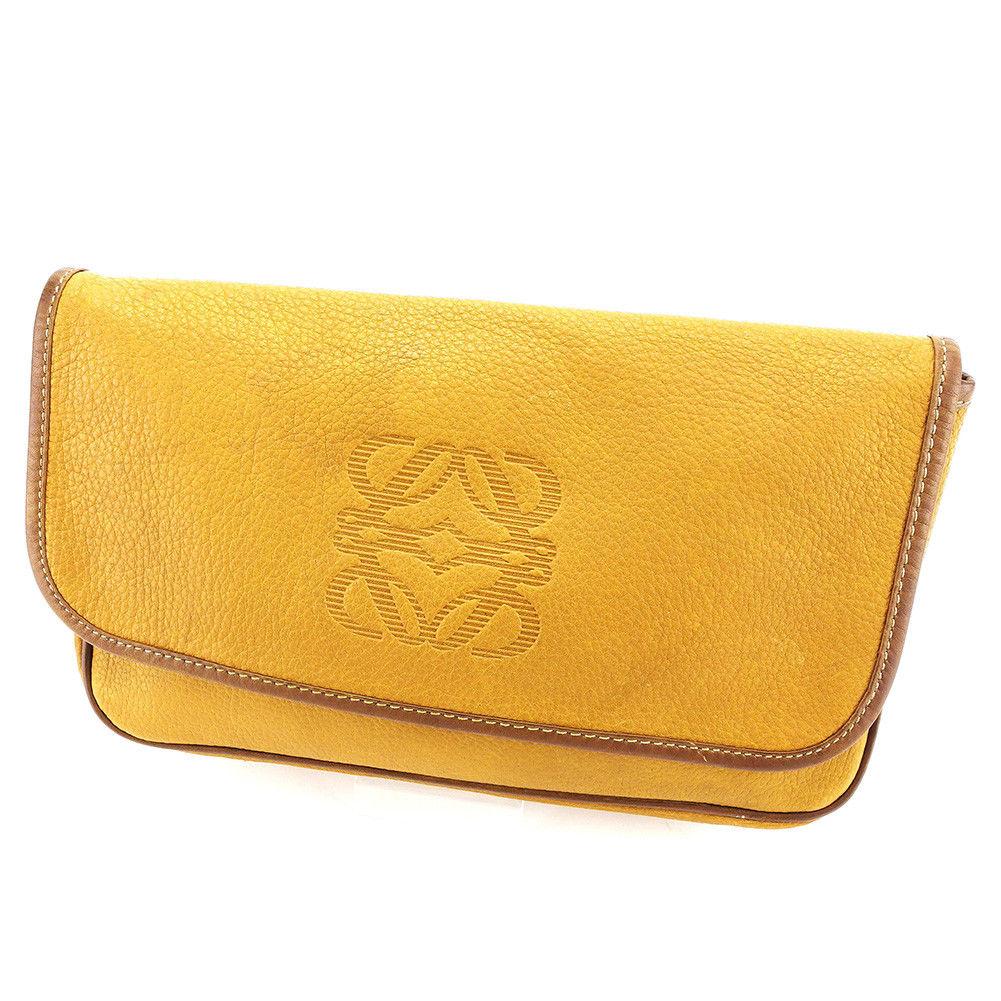 【中古】 ロエベ クラッチバッグ セカンドバッグ Loewe ベージュ×ブラウン×ゴールド P663s