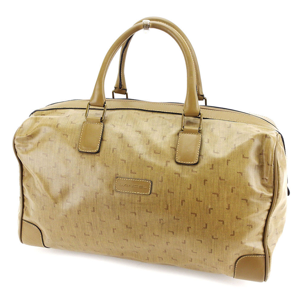 Lancel Boston Bag Handbag Lady S L Pattern Beige X Brown Antique Gold Pvc Leather Quality Goods P679
