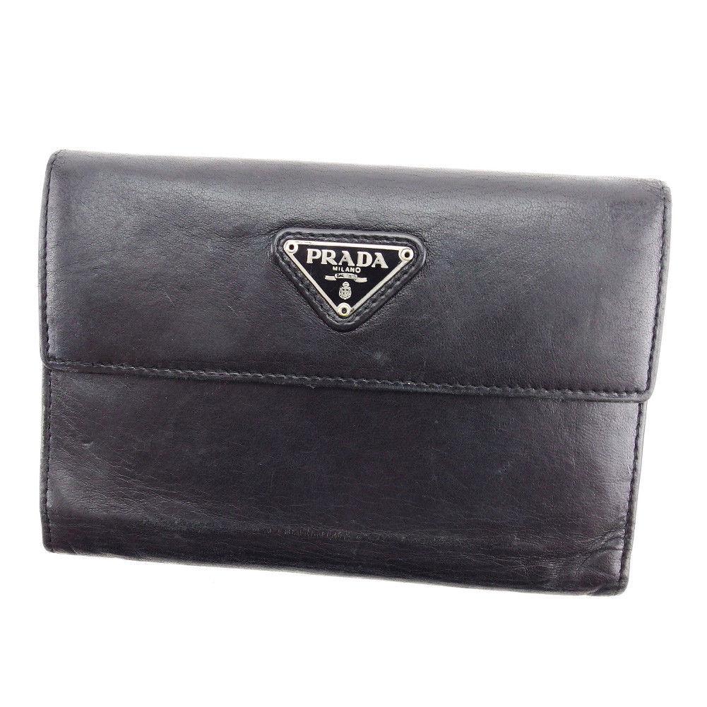 【中古】 プラダ PRADA 中長財布 財布 三つ折り レディース メンズ 可 トライアングルロゴ ブラック×シルバー系 レザー 人気 P680