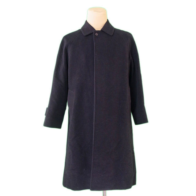 【中古】 バーバリー BURBERRY コート ロング メンズ シングル ステンカラー ブラック 羊毛/90%アンゴラ/10%(裏地)キュプラ&ポリエステル 良品 P720 .