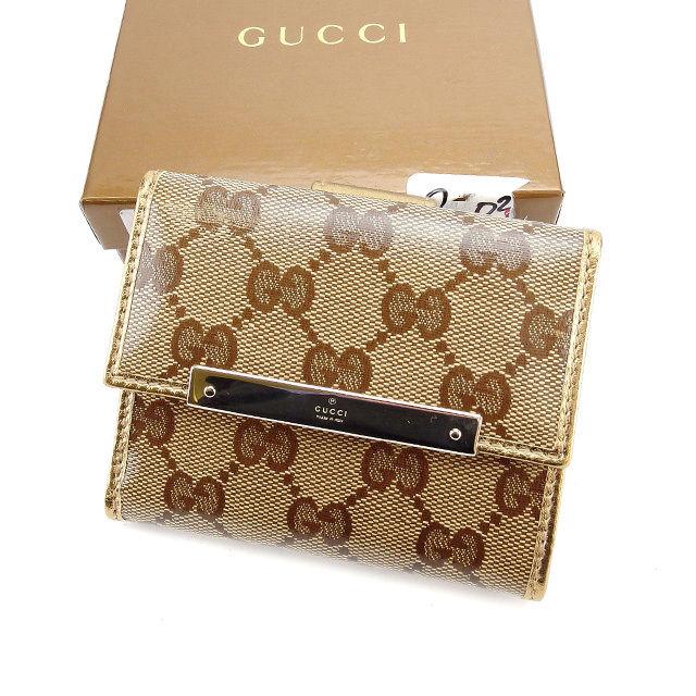 GGキャンバス 可 グッチ Wホック 財布 財布 【中古】 T3251s . メンズ Gucci エクリプス ベージュ×ブラウン×シルバー 長財布 財布 レディース