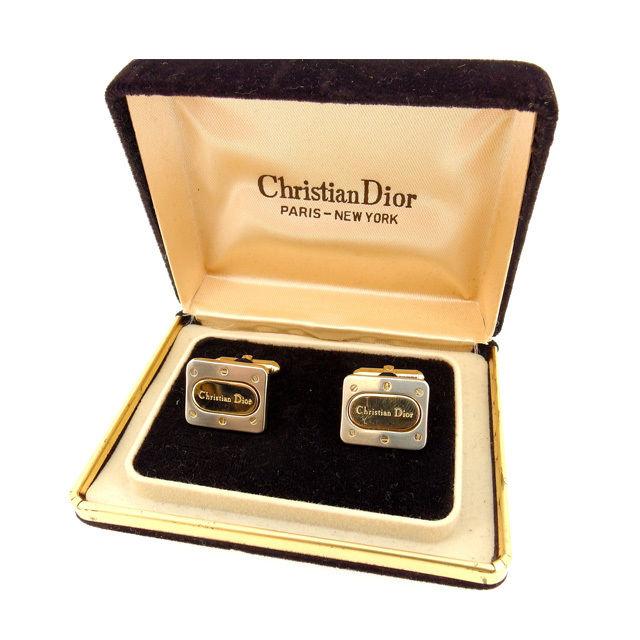 【中古】 クリスチャン ディオール Christian Dior カフス メンズ メンズ シルバー×ゴールド 美品 即納 Q219 .