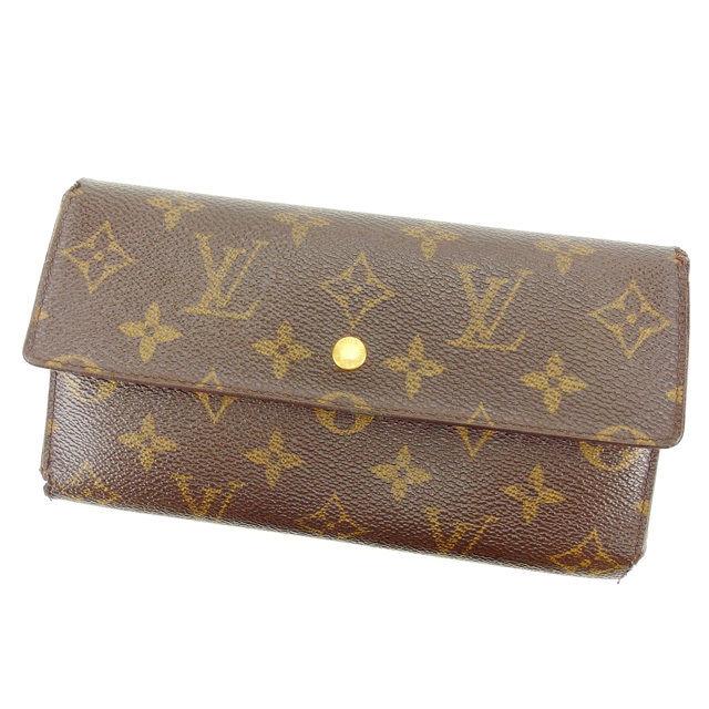 【中古】 ルイヴィトン 長財布 三つ折り財布 Louis Vuitton ブラウン Q302s