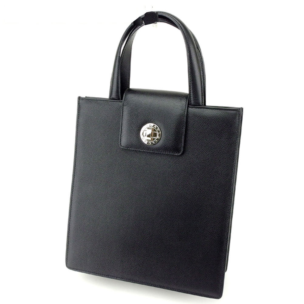 【中古】 ブルガリ BVLGARI トートバッグ ハンドバッグ メンズ可 ブルガリブルガリ ブラック×シルバー レザー 美品 セール Q344