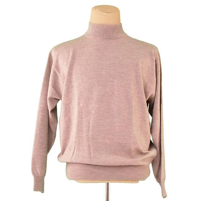 【中古】 バーバリー BURBERRY ニット ロゴ刺繍 セーター メンズ ♯LYサイズ タートルネック ブラウン ウール羊毛100% 美品 Q396 .