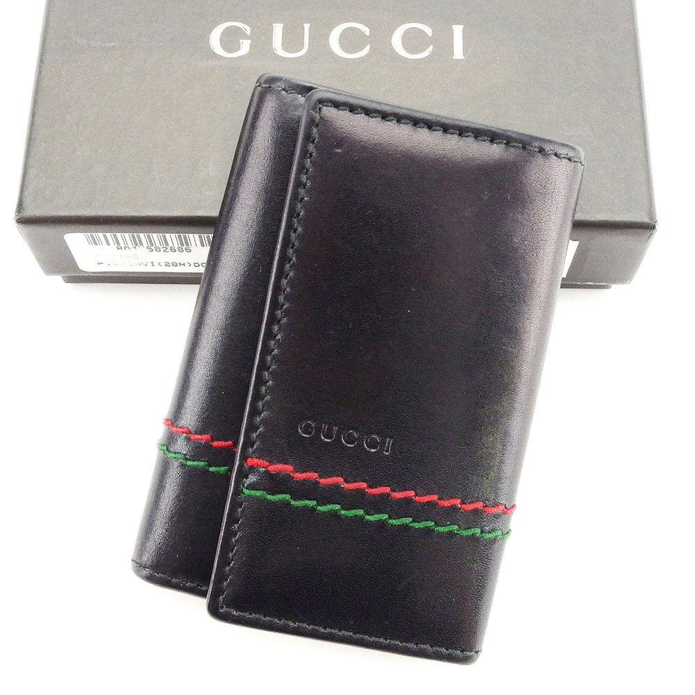 800ee9951927 Gucci GUCCI key case six key case lady's men's possible sherry line stitch  black X red ...