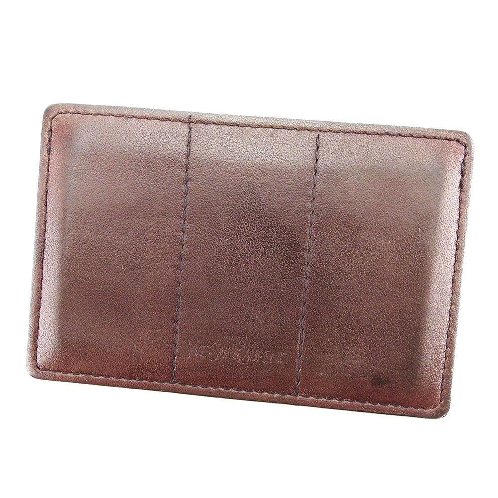 【中古】 サンローラン Cartier カードケース パスケース レディース メンズ 可 ブラウン レザー Q428