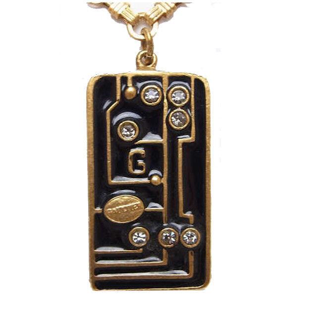 【中古】 ゴルチェ Gaultier ネックレス プレート ブラック×ゴールド GP (あす楽対応)(廃盤レア) R553 .