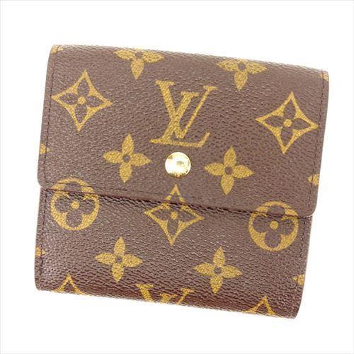 【中古】 ルイヴィトン Louis Vuitton Wホック財布 三つ折り メンズ可 ポルトフォイユエリーズ モノグラム M61652 ブラウン PVC×レザー (あす楽対応)(激安・即納) R65