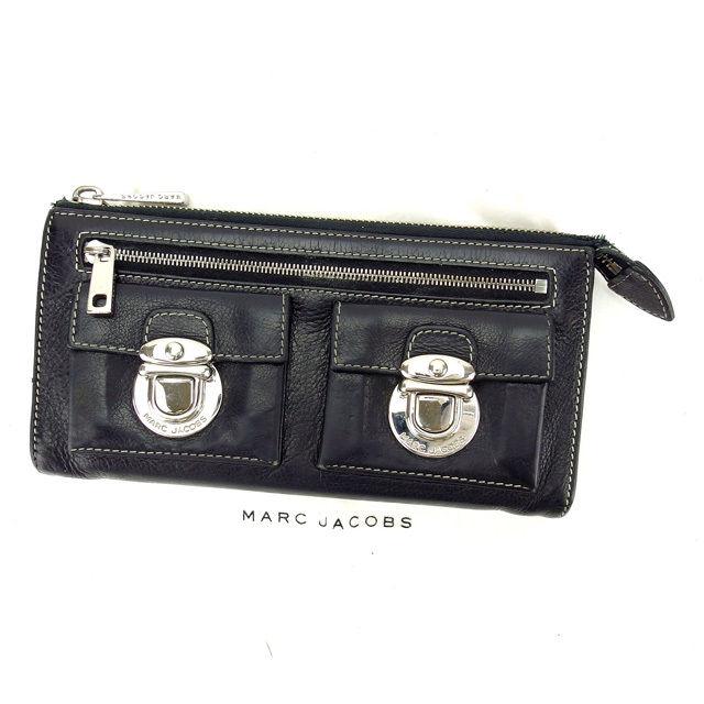 【中古】 マークジェイコブス MARC JACOBS ファスナー財布 長財布 メンズ可 ブラック×シルバー レザー×シルバー素材 (あす楽対応)激安 人気 S292