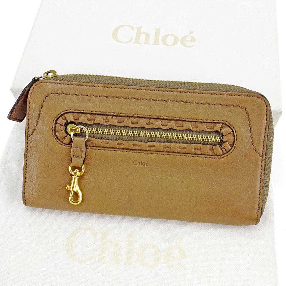 【中古】 クロエ Chloe 長財布 財布 L字ファスナー レディース メンズ 可 ステッチ入り ブラウン×ゴールド レザー 良品 S536
