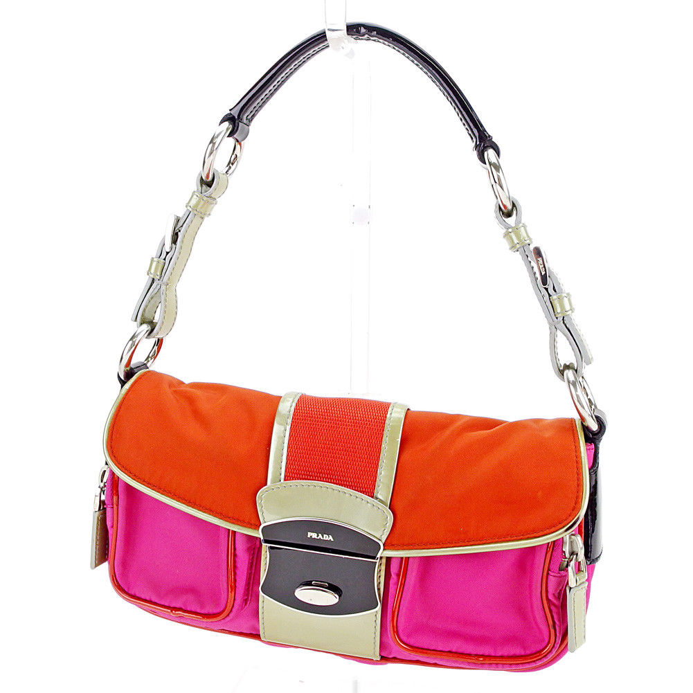 98b6371e8b5e Prada PRADA shoulder bag one shoulder Lady s logo plate pink X orange X  black system nylon canvas X enamel leather popularity sale S542.