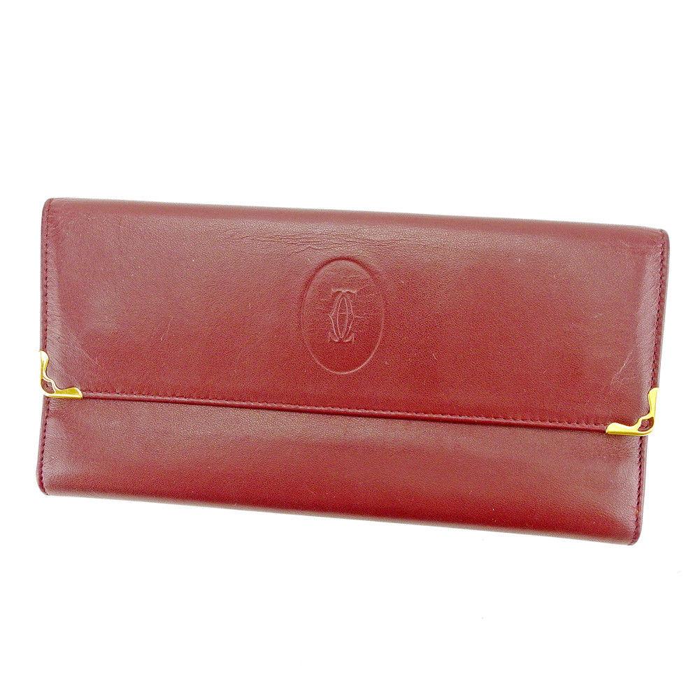 【中古】 カルティエ Cartier 長財布 財布 がま口 三つ折り レディース メンズ 可 マストライン ボルドー×ゴールド レザー 良品 S561