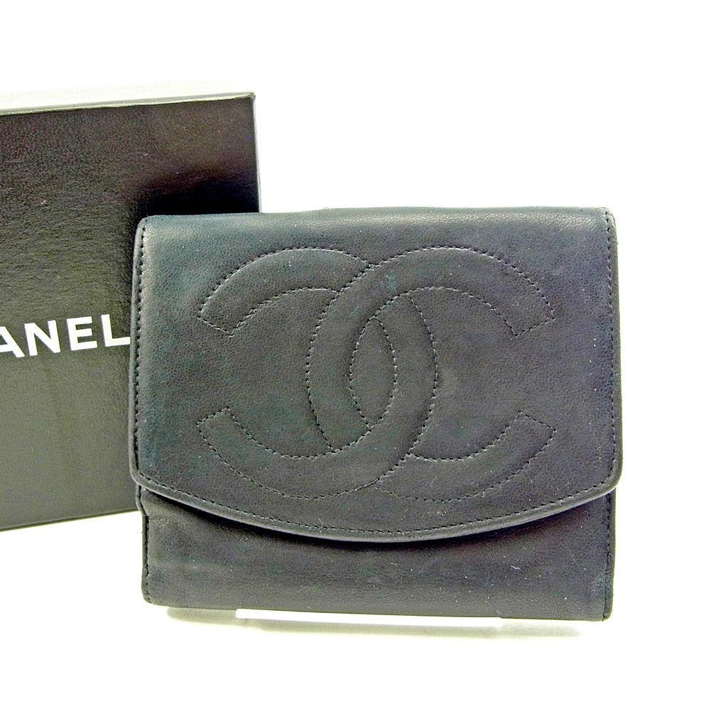 【中古】 シャネル Wホック財布 二つ折り 財布 Chanel ブラック S639s