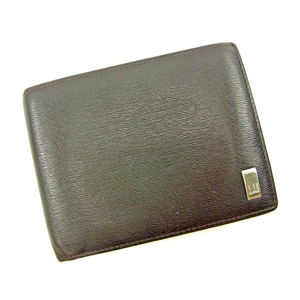 【中古】 ダンヒル dunhill 二つ折り 財布 メンズ ロゴプレート ダークブラウン レザー 人気 S659 .