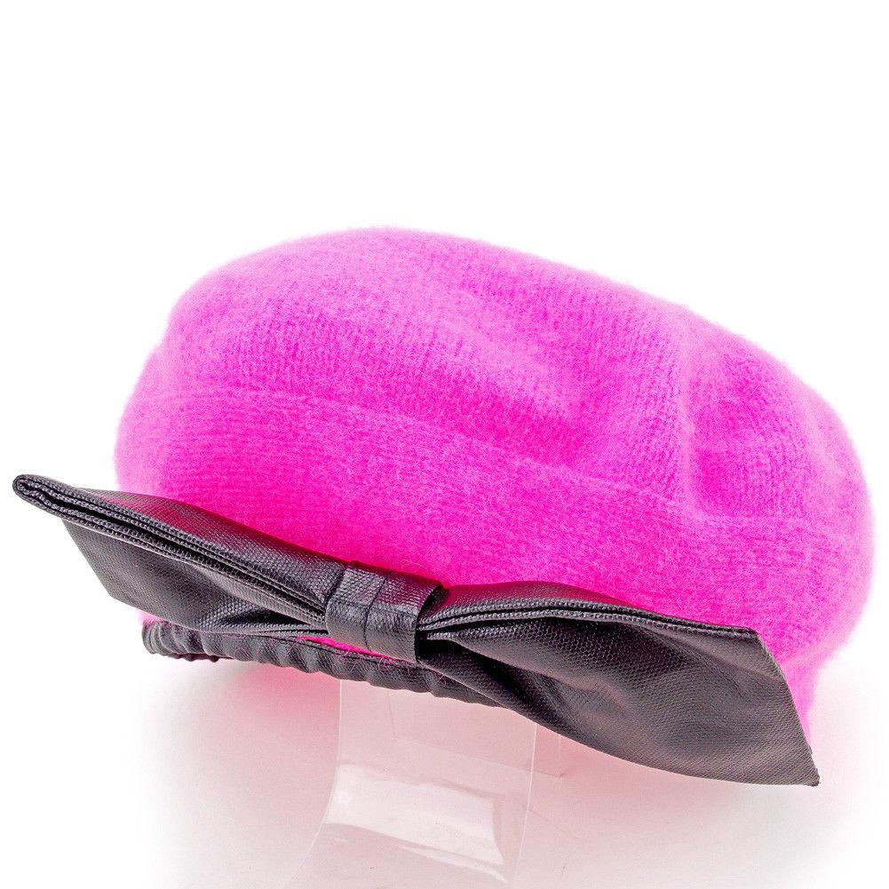 帽子 ベレー帽 リボン ニット レディース 【中古】 マークバイ マークジェイコブス MARC BY MARC JACOBS 帽子 ベレー帽 レディース ピンク×ブラック 毛70%アンゴラ20%ナイロン10%(繊他)綿100% T10929