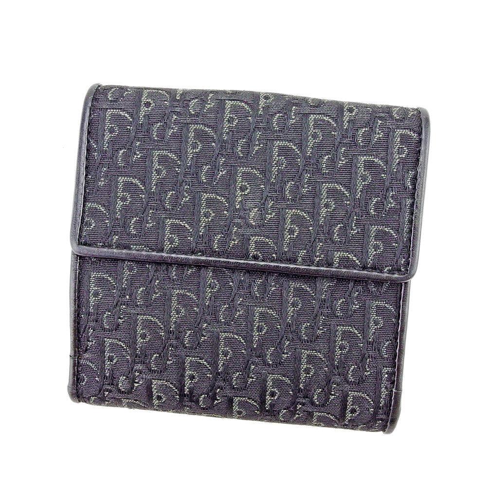 【中古】 ディオール Dior Wホック 財布 二つ折り レディース メンズ 可 トロッター ブラック×グレー×シルバー キャンバス×レザー 美品 S721