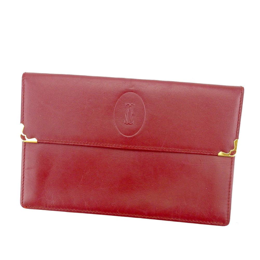 【中古】 カルティエ Cartier クラッチポシェット 財布 マルチケース メンズ可 マストライン ボルドー レザー 人気 良品 S758