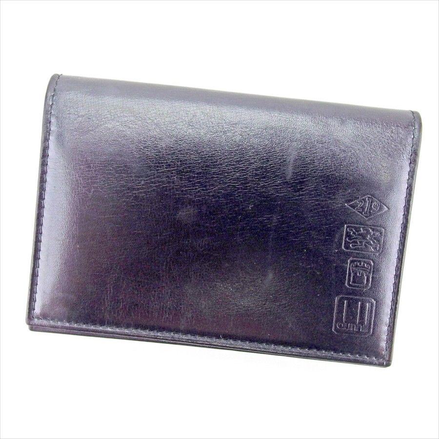 【中古】 ダンヒル dunhill カードケース 名刺入れ メンズ ブラック レザー T12679 .