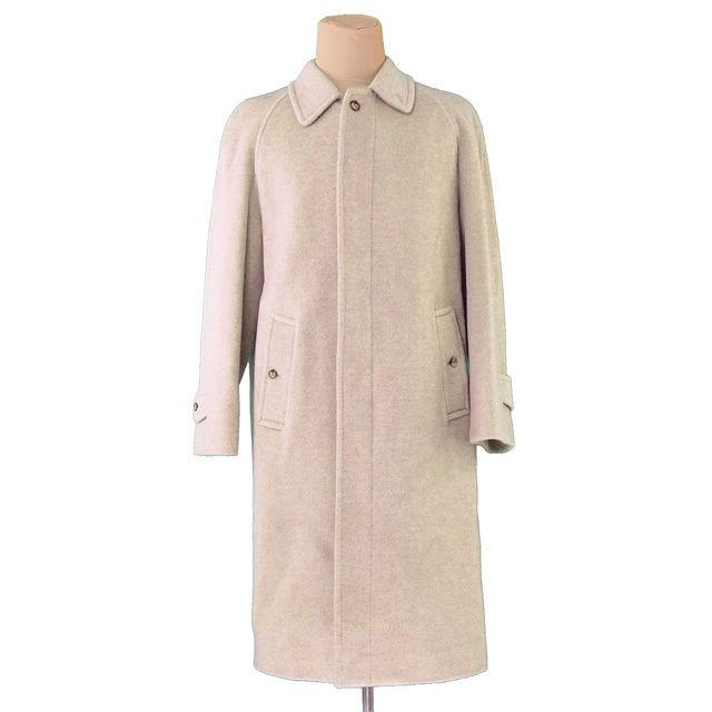 【中古】 バーバリー BURBERRY コート ロング メンズ シングル ステンカラー ベージュ MOHAIR/45%WOOL/40%NYLON/15%(裏地)RAYON/100% 美品 T066 .