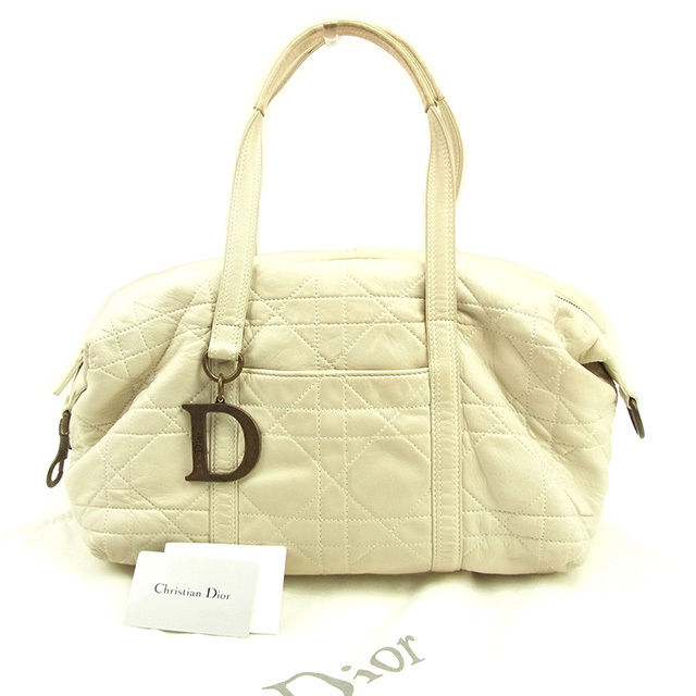 【中古】 ディオール Dior ボストンバッグ ショルダーバッグ レディース レディディオール ライトベージュ×アンティークゴールド レザー 良品 T074