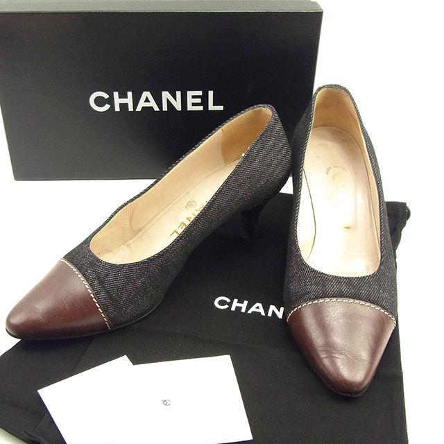 【中古】 シャネル CHANEL パンプス シューズ 靴 レディース ♯37 つま先切替え ブラック×ブラウン系 デニムキャンバス×レザー T075