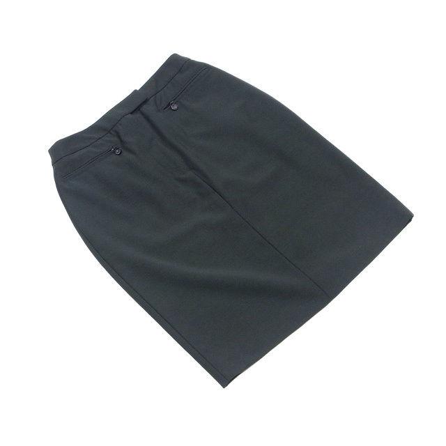 【中古】 グッチ GUCCI スカート タイト レディース ♯42サイズ ZIPポケット ダークカーキ 毛100%(裏地)キュプラ100% 美品 T1007
