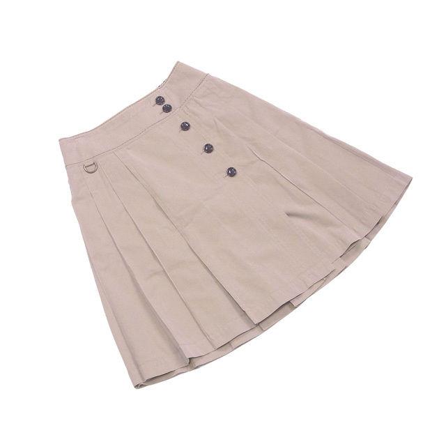 【中古】 バーバリー ブラックレーベル BURBERRY BLACK LABEL スカート フレアー レディース ♯38サイズ ボックスプリーツ ベージュ系 綿100%(見返し)綿74%キュプラ26% 人気 T1028 .