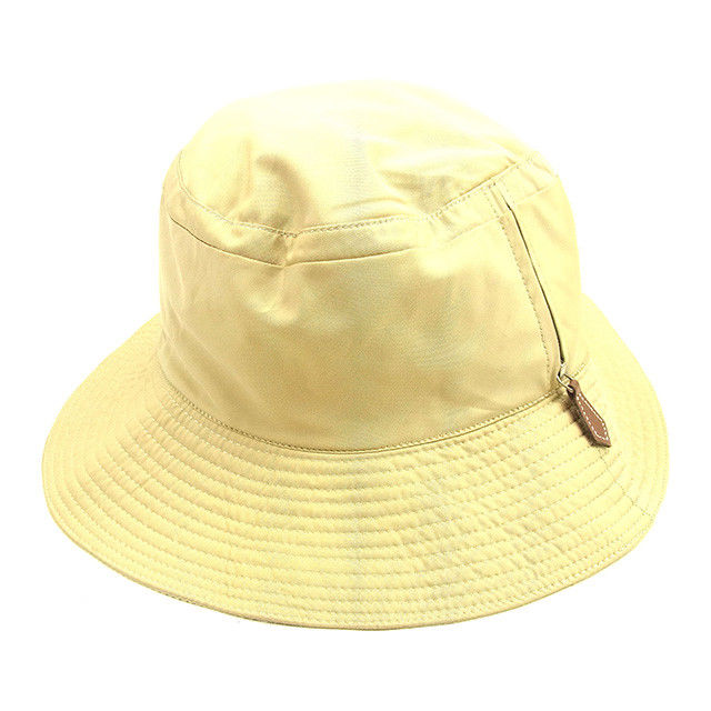【中古】 エルメス HERMES 帽子 ハット レディース メンズ 可 ベージュ ポリエルテル×アセート 人気 T1055 .