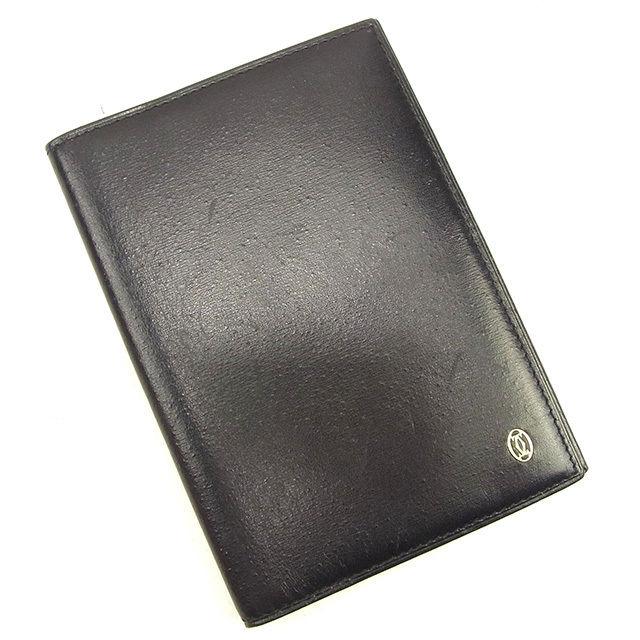 【中古】 カルティエ Cartier 手帳カバー レディース メンズ 可 ブラック レザー T1118