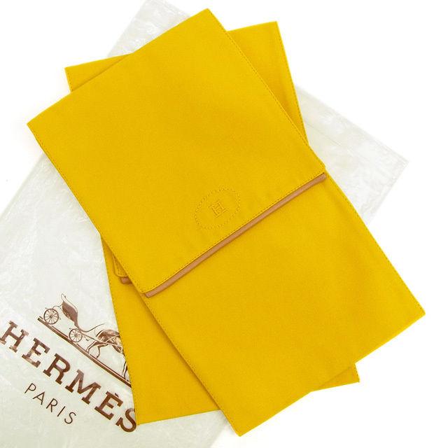 【中古】 エルメス HERMES シューズケース レディース メンズ 可 イエロー キャンバス×レザー T1156