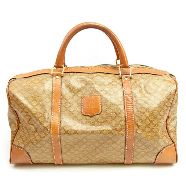 Celine Celine Boston bag handbag lady s men s possible macadam beige X  brown PVC X leather popularity sale T1208 2b99466289