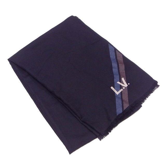 【中古】 ルイ ヴィトン Louis Vuitton マフラー フリンジ付き レディース メンズ 可 ストール ブラック×ブルー×ベージュ系 シルク42%カシミア29%ウール29% T1266