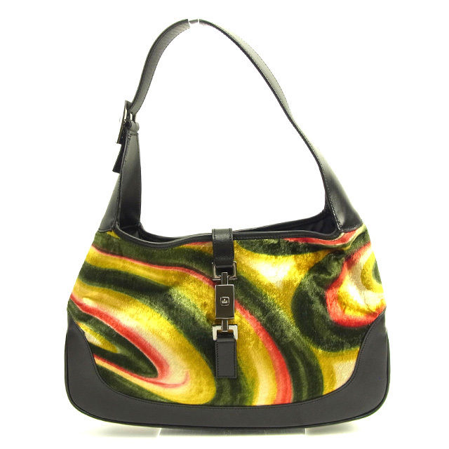 633553d4d8d1 Gucci Gucci shoulder bag one shoulder bag lady Jackie black X green X red X  yellow leather X velour popularity sale T1308.