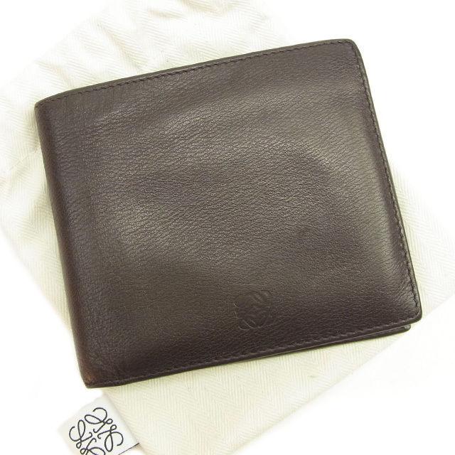 【中古】 ロエベ LOEWE 二つ折り札入れ 財布 さいふ レディース メンズ 可 ブラウン レザー T1315