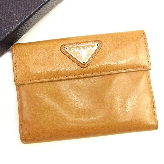 f76775317e15 【中古】 プラダ PRADA Wホック財布 二つ折り 財布 レディース トライアングルロゴ ベージュ レザー