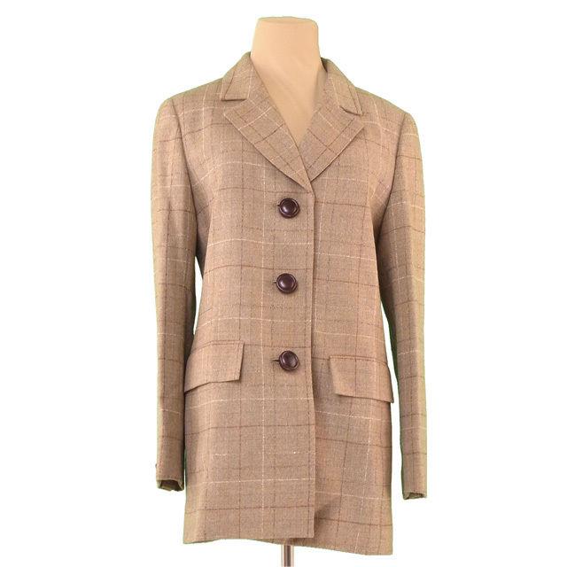 【中古】 ディオール Dior ジャケット 3つボタン レディース ♯11サイズ チェック ベージュ系 ウール毛90%ナイロン10%(裏地)キュプラ100% 美品 T1370 .